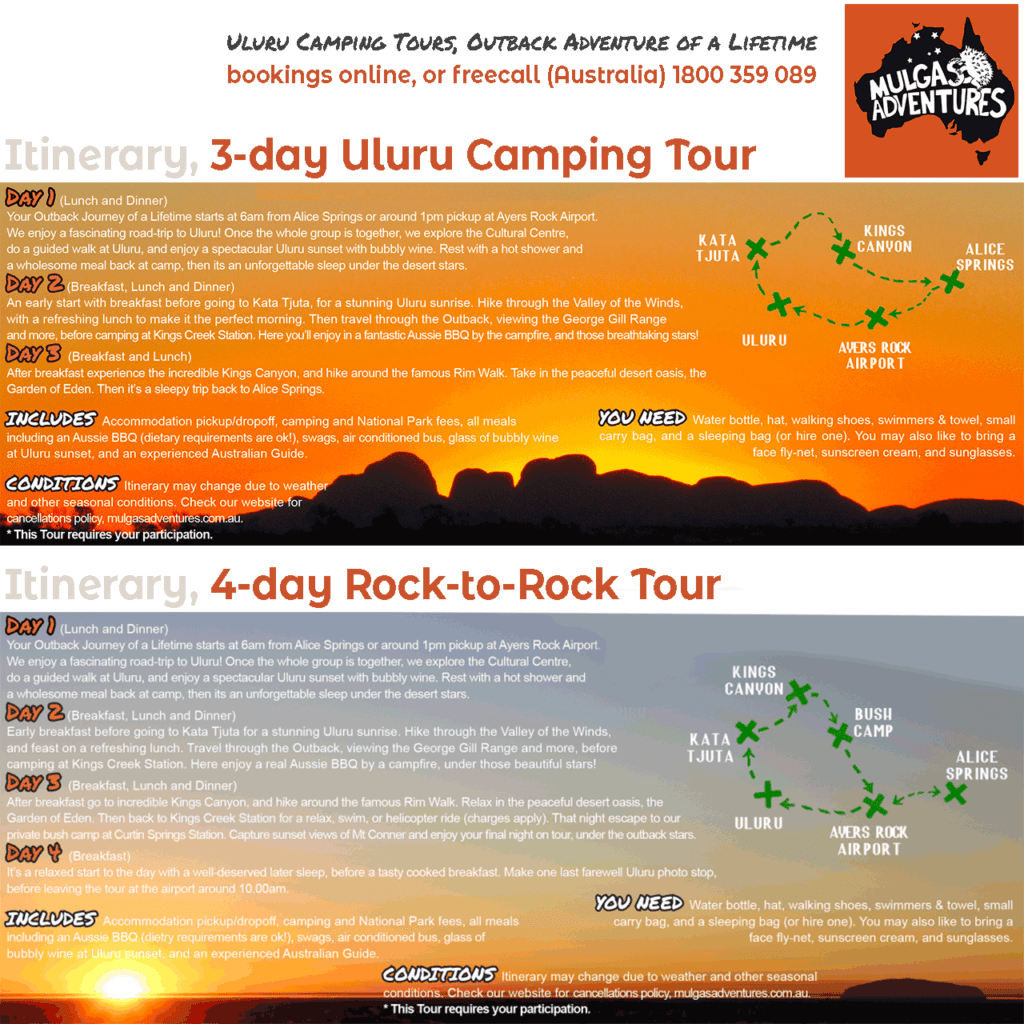 © Mulgas Adventures, Uluru Tour Itineraries